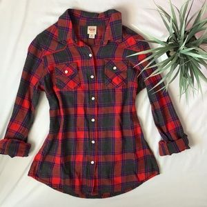 Mossimo plaid button up long sleeve shirt small s